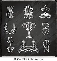 Auszeichnungssymbole setzen Kreidetafel.