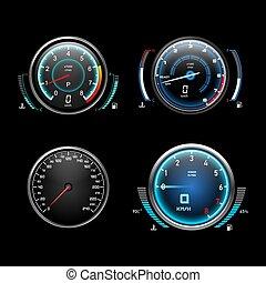auto, armaturenbrett, geschwindigkeitsmesser, kraftstoff, lehren, tachometer