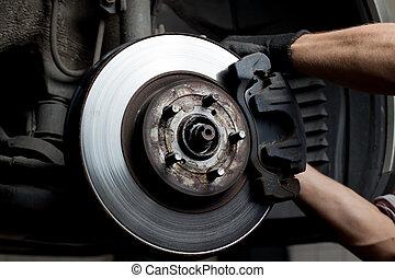 auto, polster, bremse, mechaniker, reparatur