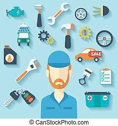 Auto Service Konzept mit flachen Icons und Mechaniker.