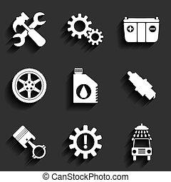 Auto-Service Wartung Vektor Flach-Icon gesetzt.
