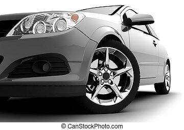 auto, weißes, silber, hintergrund