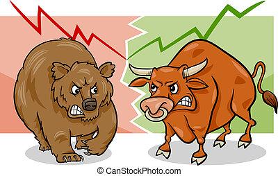 Bären- und Stiermarkt-Cartoon.