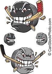 böser , kobold, chomping, übel, stock, hockey