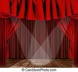 Bühnenbildschirme mit drei Scheinwerfern im Zentrum