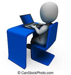Büroangestellte und Computer zeigen Tippfehler