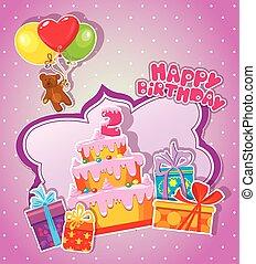 Baby-Geburtskarte mit Teddybär, Kuchen und Geschenkdosen. Zwei