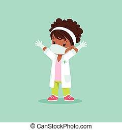 baby, medizin, maske, spielende , m�dchen, auf., stehende , kleid, weißes, kind, handschuhe, schwarz, hände, lockenköpfig, doktor, zeichen