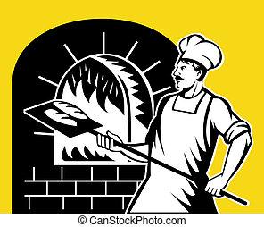 backen, backhofen, bäcker, holz, besitz, pfanne