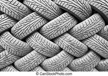 Backgorund vieler schwarzer Reifen