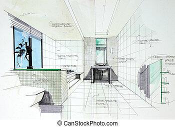 badezimmer, perspetive, inneneinrichtung, hand, gezeichnet
