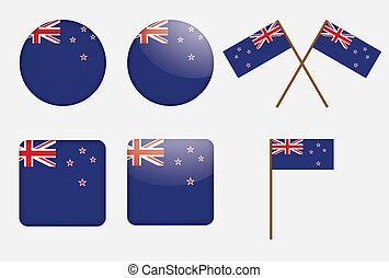 Badges mit der Flagge von Neuseeland
