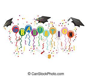 ballons, studienabschluss, abbildung, feier