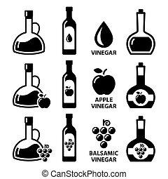 balsamic, flaschen, apfel, essig, ikone, apfelwein, vektor, design, -, satz