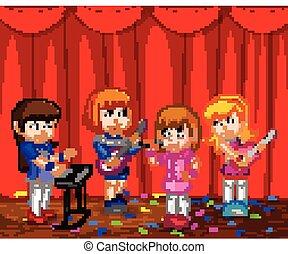 band, wenig, kinder, musik, spielende