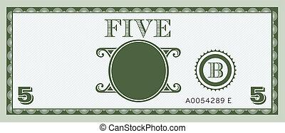 banknote, geld, image., fünf