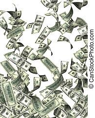banknoten, fliegendes, dollar