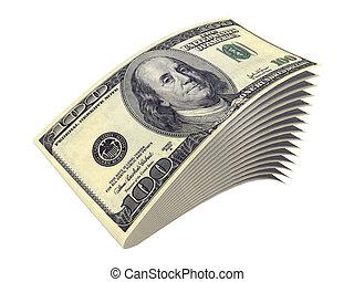 banknoten, mehrere, freigestellt, weißes, dollar
