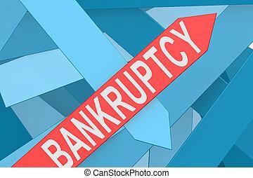 Bankrott-Pfeil zeigt nach oben.