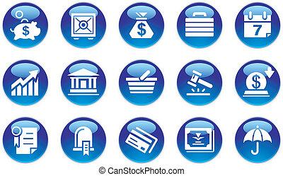 bankwesen, satz, &, geschäfts-ikon