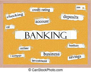 bankwesen, wort, begriff, corkboard