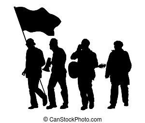 banner, flaggen, vier
