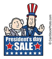 banner, präsidenten, -, tag, karikatur