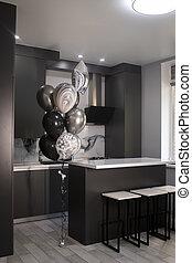 bar, sinken, countertops, kueche , graue , schwarz, ecke, minimalistic, stove., dunkel, balloons., stilvoll, weißes, stools., grau, schränke