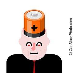 Batterie im offenen Kopf. Angriff auf Gehirn.