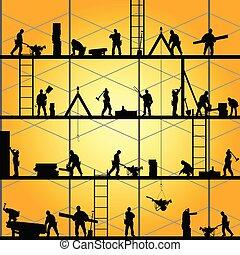 Bauarbeiter-Silhouette im Vektor Illustration