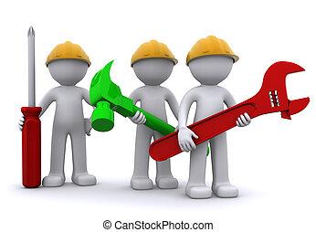 Bauarbeiter-Team mit Ausrüstung