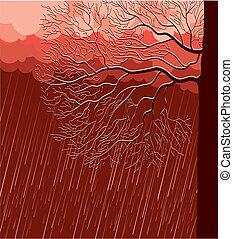 baum, abend, regnen, landschaftsbild, natur