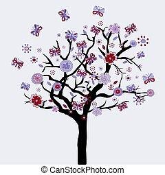 baum, abstrakt, blumen, vlinders, blumen-