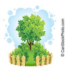 Baum auf grünem Rasen mit Holzzaun.