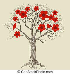 baum, lieben vögel, blüte