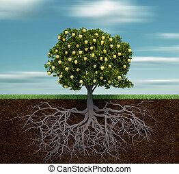 Baum mit goldenem Apfel