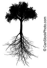 Baum mit Wurzeln Silhouette.