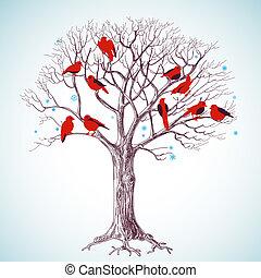 baum, singende, winter, vögel