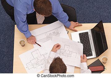 bauplaene, zwei, architekten, überprüfen