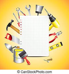 Bauwerkzeuge mit leerem Papier