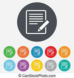 bearbeiten, button., zeichen, zufriedene , icon., dokument