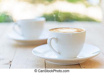 becher, holz, bohnenkaffee, heiß, tisch