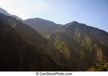 bedeckt, landschaftsbild, wald, berge
