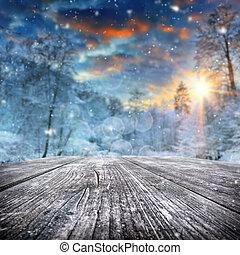 bedeckt, wald, winterlandschaft, schnee