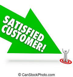 Befriedigter Kundenpfeil mit zufriedener Kundenzufriedenheit.