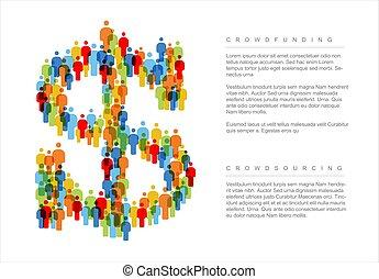 begriff, gemacht, dollar, heiligenbilder, einfache , crowdsourcing, leute