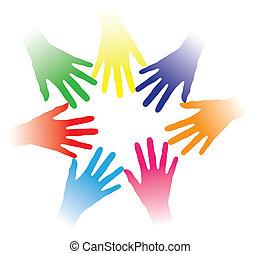 begriff, leute, andere, gemeinschaft, gehalten, binden, partnerschaft, gruppe, networking, zeigen, bunte, mannschaft, abbildung, helfende hände, leute, zusammen, multirassisch, jedes, geist, usw., sozial