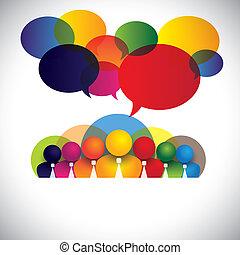 begriff, leute, verschieden, mitglieder, rassisch, personal, geschäftsführung, &, medien, -, auch, brett, vector., weißes, shows, vernetzung, bunte, firma, angestellte, konferenz, kragen, multi, grafik, sozial, geschäftsführung