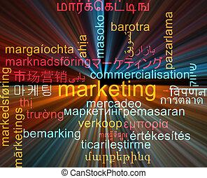 begriff, marketing, wordcloud, glühen, multilanguage, hintergrund