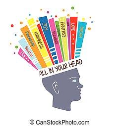 begriff, psychologie, denken, positiv, abbildung, gefuehle, optimistisch